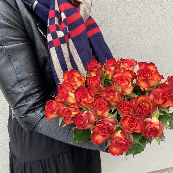 Rozes-oranžas ar sarkanu maliņu-40 cm